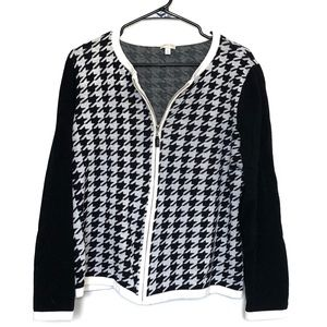 Talbots Houndstooth Zippered Sweater